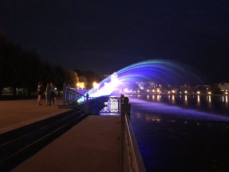 Illuminated fountains in Ternopil