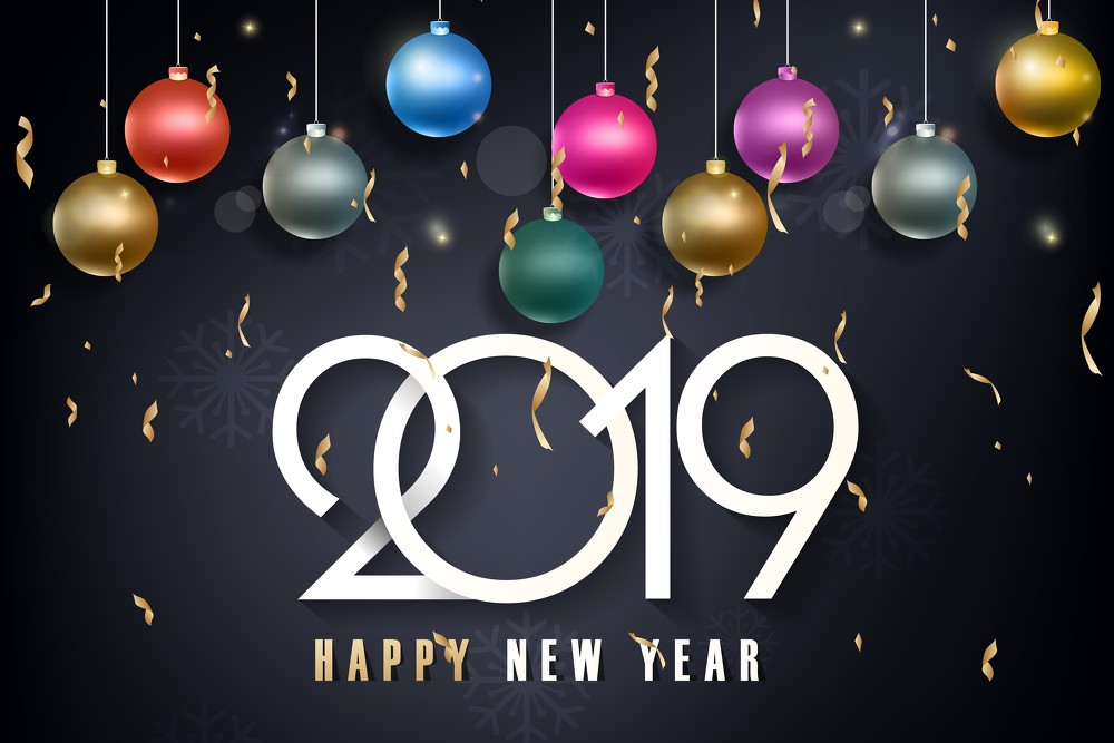 2019 Happy New Year Balloons Wallpaper